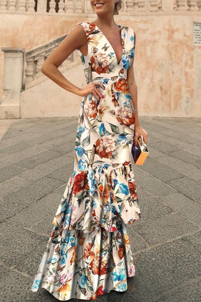 Fashion V Collar Floral Printed Maxi Dress Whiteseek Vestidos Estampados De Fiesta Vestidos Largos Para Boda Vestido Largo Invitada Boda