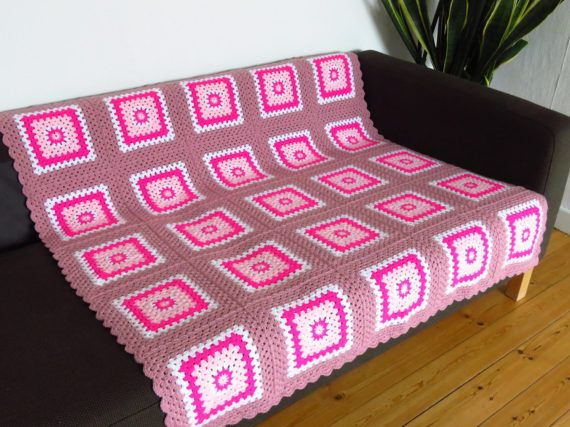 This pretty pink crochet blanket would make a lovely gift for someone special. Ready to ship today from my Phoenix Smiles Etsy store