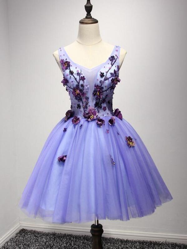 c06e6bdf760 Lilac V Neck Sleeveless Tulle Homecoming Dresses