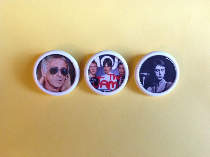 The JAM button badge Set of 3 Unique Retro stocking filler with Free UK Postage Great Gift for any Paul Weller MOD Rock music fan - pinned by pin4etsy.com
