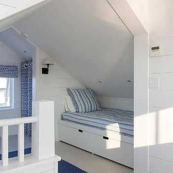 Beds For Attic Rooms attic bedroom with built in bed under sloped ceiling | decorating