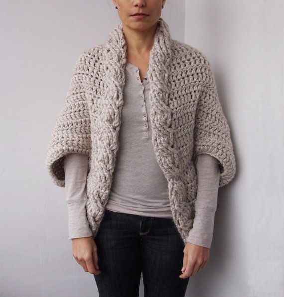 Crochet Pattern cable women shrug bulky cardigan by Accessorise