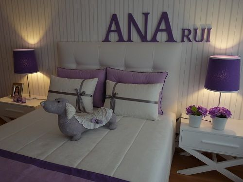 source: Blanco Interiores    little girl bedroom, with grey and white striped wallpaper, and lilac and purple accents. decorpad.com