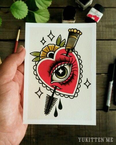 Mascara Heart Eye Make Up Traditional Tattoo Original Watercolor by Yukitten'me
