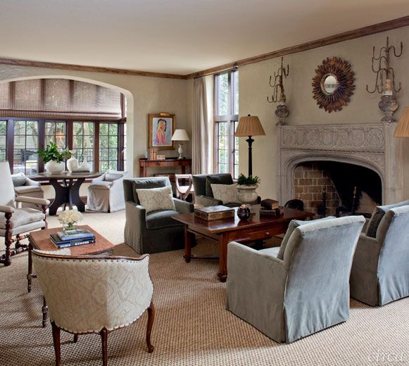 like the neutral but soft color in a few chairs...also chairs in background (poolhouse chairs?)...© 2013 Circa Interiors & Antiques. Charlotte & Birmingham.