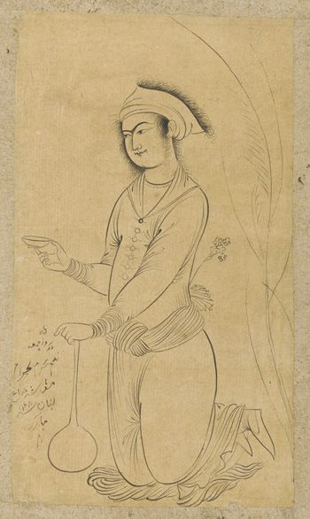Cup bearer with long-necked bottle 1638 Safavid period  Ink on paper H: 16.3 W: 9.4 cm  Probably Isfahan, Iran  Purchase F1953.26  Freer-Sackler | The Smithsonian's Museums of Asian Art