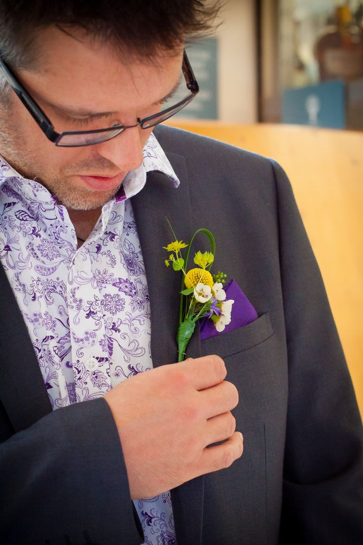 We prepared this beautiful Grooms buttonhole - wild flowers to compliment bride -  captured here perfectly at Winkworth Farm Malmesbury Wiltshire