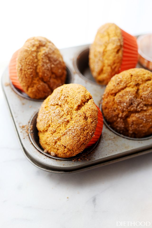 Pumpkin Muffins   www.diethood.com   Packed with pumpkin and topped with cinnamon-sugar, these Pumpkin Muffins are soft, fluffy, moist, and absolutely delicious!
