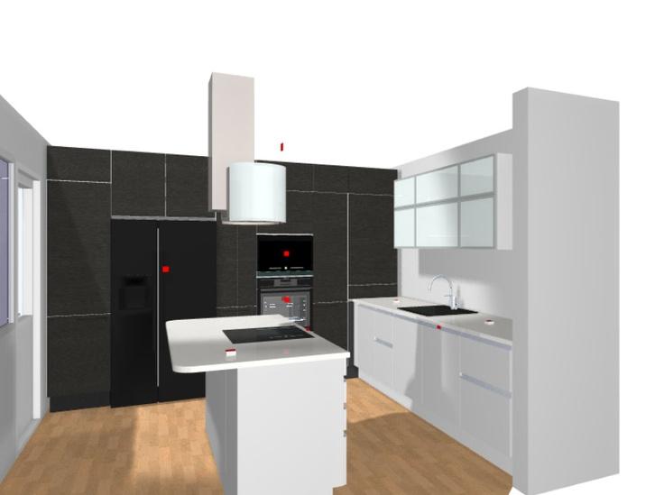 3D-kuva kokonaisuudesta. Nyt mietin kuitenkin, että mustat kaapit olisivat valkoiset, jääkaappi integroitu ja uuni terästä.