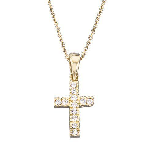 "14k Gold CZ Cross Children's Necklace 15"" Kids Gold Jewelry Source. $109.99"