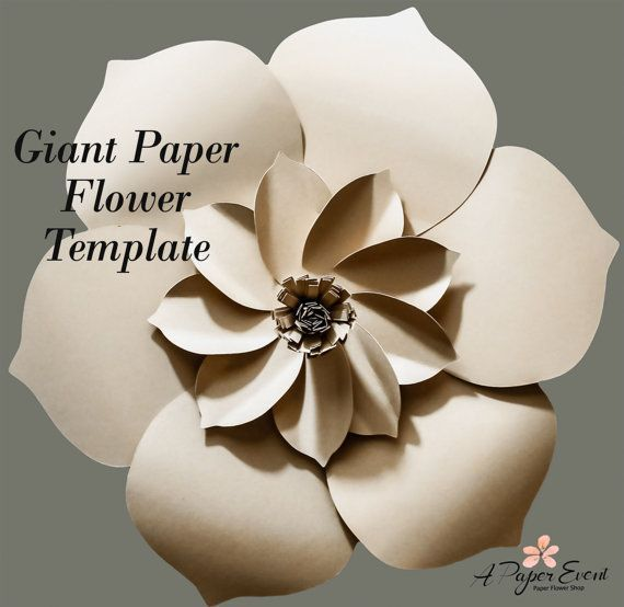 Sale 50% Off  Paper Flower Template PDF Create this beautiful and elegant giant paper flower today! Perfect option for the DIYer! These flowers can be made to create beautiful wedding centerpieces, birthday and event decor, or to add a unique wall piece for your home. This giant paper flower, when completed is approximately 16 in diameter. You can also create smaller/larger flowers by scaling the PDF. (PDF are files that you will print and trace onto your choice of paper.) After purchase…