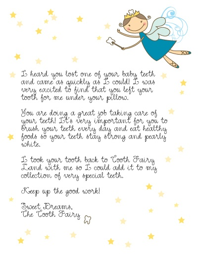 Tooth Fairy Missing Lost Tooth Letter