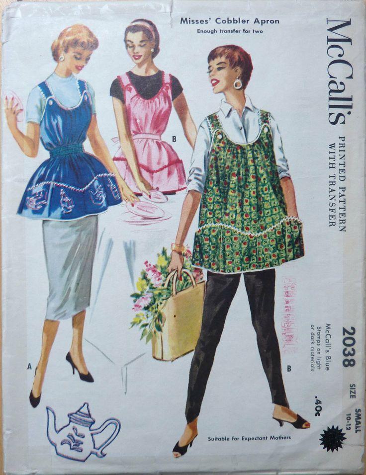 Vintage Apron Patterns | VINTAGE COBBLER APRON Sewing Pattern McCall's by vintagememory