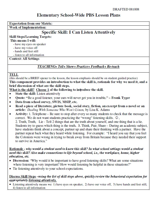 PBiS Cool Tool active listening PBiS Pinterest Active - middle school lesson plan template