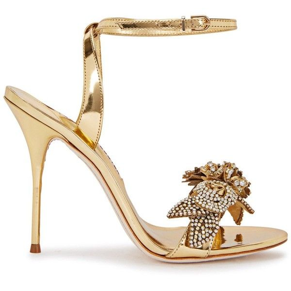 Sophia Webster Lilico Gold Crystal-embellished Leather Sandals - Size... (3.100 BRL) ❤ liked on Polyvore featuring shoes, sandals, gold high heel shoes, gold open toe sandals, strappy leather sandals, high heels sandals and gold shoes