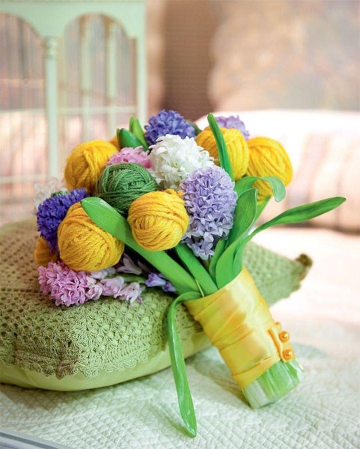 Yarn balls bouquet / Букетик из клубочков — лучший подарок для рукодельницы - Ярмарка Мастеров - ручная работа, handmade