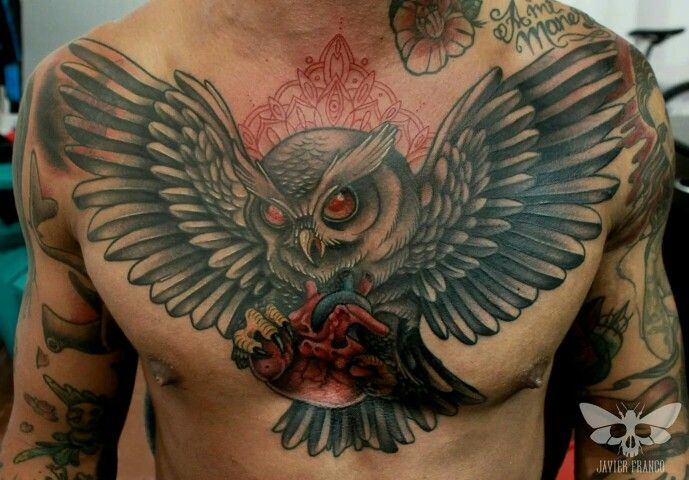 17 best images about javier franco tattoo on pinterest for Owl heart tattoo