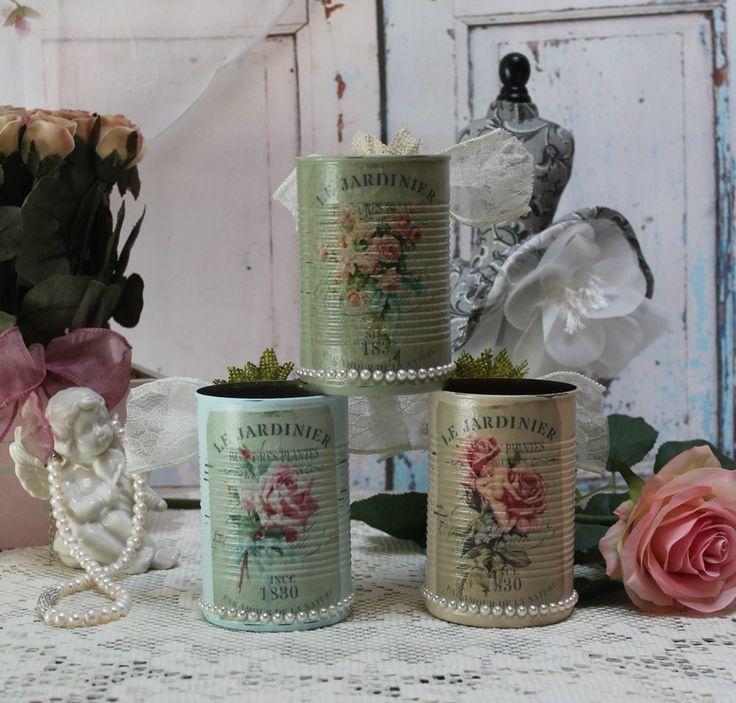 "~ A set of 3 Vintage Shabby Chic Painted Decoupage Tin Cans ""Le Jardinier"" ~ #Handmade #FrenchCountryCottageShabbyChic"