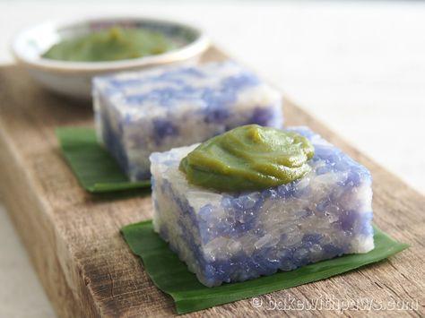 Pulut Tai Tai or Blue Glutinous Rice Cake is a Nyonya Kueh served with Kaya.