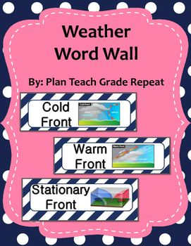 Set of 24 Weather vocab words for your word wall.Each card includes the word and a picture. Includes the following vocab words: Air Pressure, Precipitation, Land Breeze, Sea Breeze, Climate, Weather, Trade Winds, Polar Easterly, Prevailing Westerly, Coriolis Effect, Polar Air Mass, Tropical Air Mass, Maritime Air Mass, Continental Air Mass, Barometer, Weather Vane, Anemometer, Cold Front, Warm Front, Stationary Front, Status, Nimbus, Cirrus, CumulusPrint, cut and laminate and use for years!