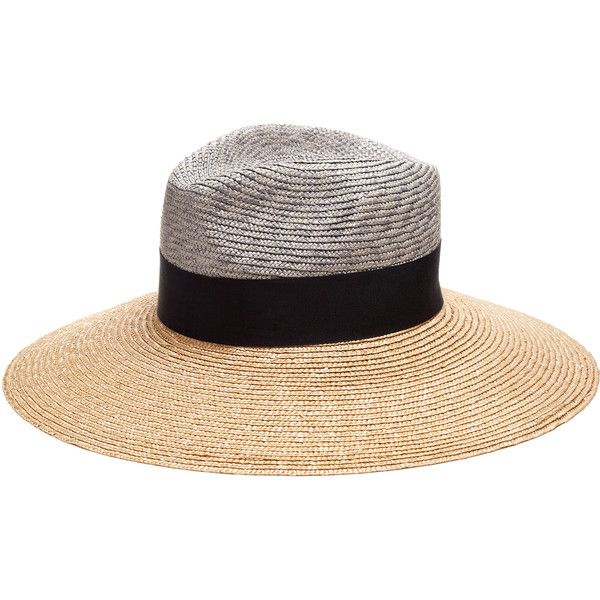 Federica Moretti Wide-brimmed straw hat (£110) ❤ liked on Polyvore featuring accessories, hats, bohemian hats, summer hats, braid crown, wide brim hat and wide brim straw hat