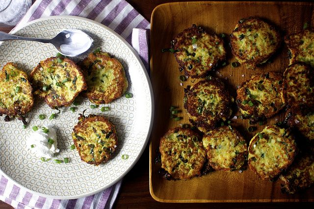 Potato Scallion and Kale Cakes... good for leftover mashed potatoes ...