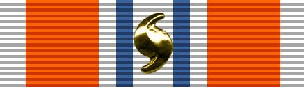 The Coast Guard version of the Presidential Unit Citation with some sort of clasp. Notice that the clasp forms the internationally recognized hurricane symbol.