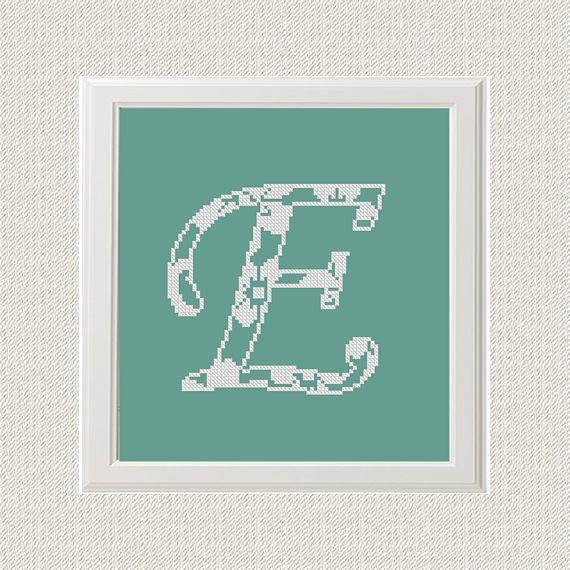 Only E letter Monogram Cross Stitch Pattern chevron Monogram