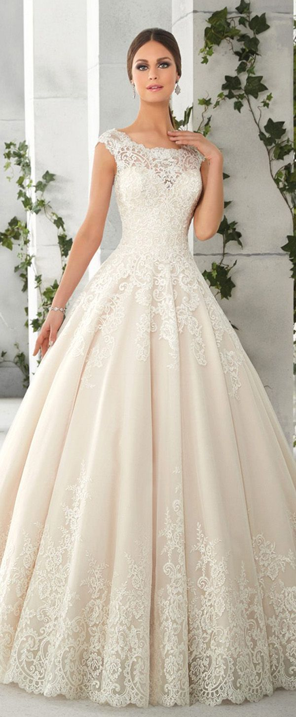 Charming Tulle & Satin Scoop Neck A-Line Wedding Dresses with Lace Appliques Bri…