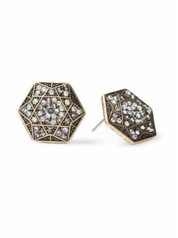 hexagon stud earrings: Hexagons Studs, 14 Crystals, Crystals Earrings, Deco 1920S, Crystal Earrings, Studs Earrings, Interesting Studs, David Earrings, Art Deco