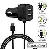 [Apple MFI Certificado] Cargador de Coche, FosPower USB Dual-Port [6.6A/33W] cargador auto con Lightning Cable de 8 Pin para Apple iPhone 7/6s/6s Plus/5s/SE teléfono inteligente y tableta (Negro) - http://themunsessiongt.com/apple-mfi-certificado-cargador-de-coche-fospower-usb-dual-port-6-6a33w-cargador-auto-con-lightning-cable-de-8-pin-para-apple-iphone-76s6s-plus5sse-telefono-inteligente-y-tableta-negro/