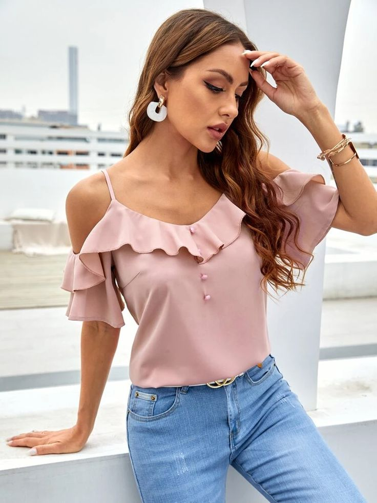 Ruffle Trim Cold Shoulder Blouse in 2021   Cold shoulder blouse, Ruffle trim, Blouse