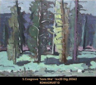 Original oil painting on canvas by Stanley Cosgrove #cosgrove #artist #art #oilpainting #originalpainting #fineart #canadianartist #quebecartist #forest #trees #balcondart #multiartltee
