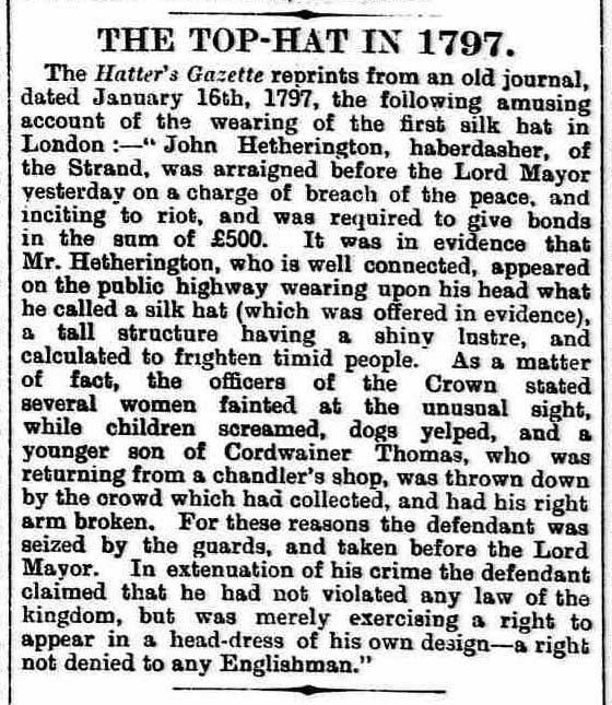 The first top hat causes a commotion | The British Newspaper Archive Blog