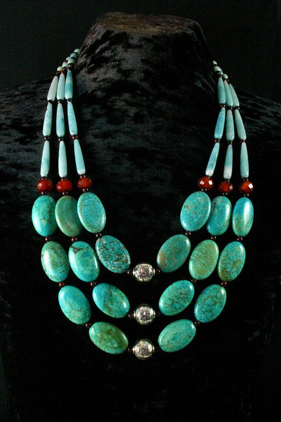 Turquoise Necklace Ethnic Jewelry Chunky por ByDivineCollectibles