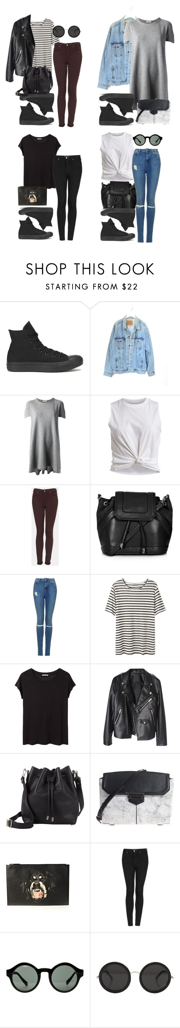 """outfits with all black converse"" by style-by-gabriella on Polyvore featuring Converse, Levi's, Balenciaga, VILA, Topshop, T By Alexander Wang, Acne Studios, Proenza Schouler, Alexander Wang and Givenchy"