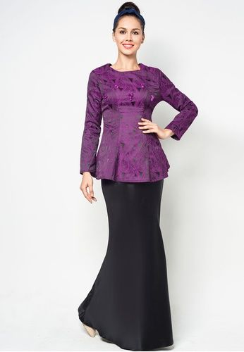 Brocade Peplum Baju Kurung With Crystal Embellishment #zalora