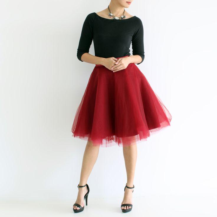 Midi tulle skirt Maroon | Tulle bridesmaid skirt | Tuesday Couture
