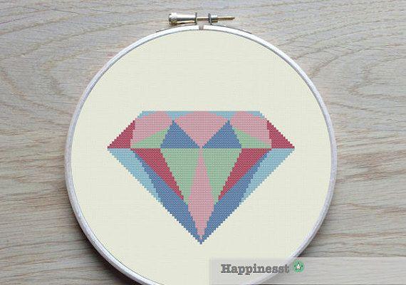 geometric modern cross stitch pattern diamond PDF pattern