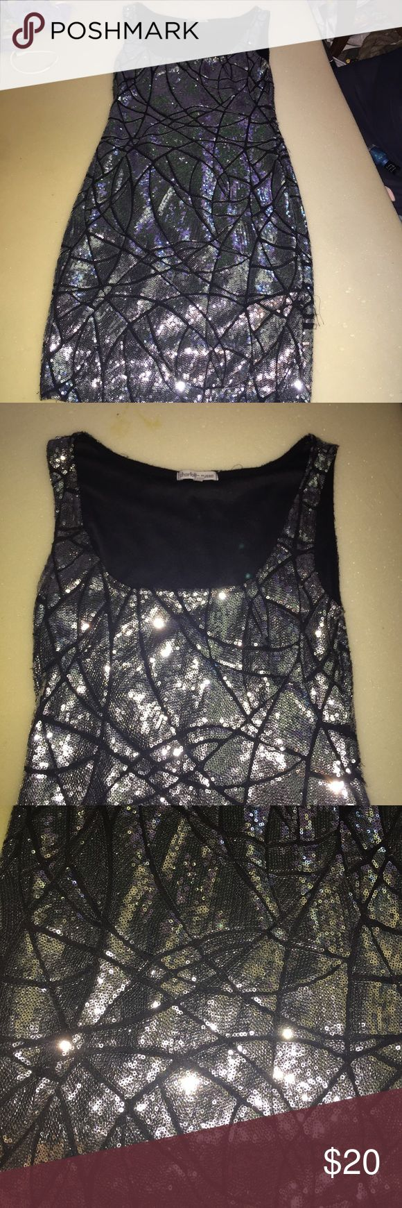 Charlotte Rousse body con sequined dress So freaking cute!!! Part dress perfect for a big night out inside fabric is soft not scratch all sequins are intact threading gets loose and frays at the sides but is easily trimmed off with no damage to dress :) Charlotte Russe Dresses Mini