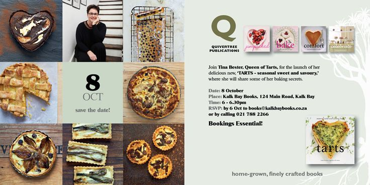 TARTS launch at Kalk Bay Books 8 October! Booking Essential! Please RSVP to Kalk Bay Books 021 7882266 or books@kalkbaybooks.co.za by 6 October
