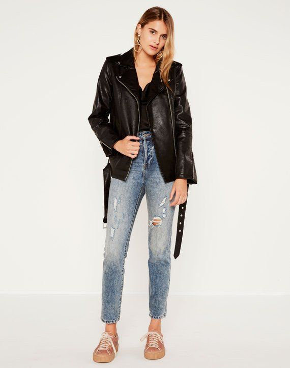 Oversized Biker Jacket Black