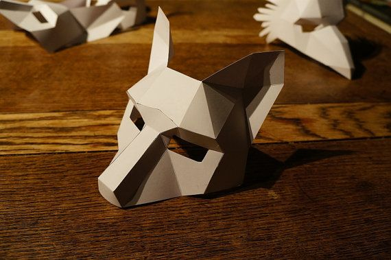 These plans and instructions enable you to make your own half face 3D Fox mask from cardboard. These templates are for the HALF FACE MASK not the