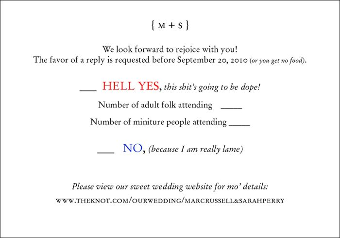 fun wedding rsvp | Wedding invite and response card I did ...