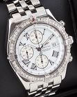 Mens Breitling Crosswind Chronograph Diamond Bezel SS A13355 43mm Automatic Box