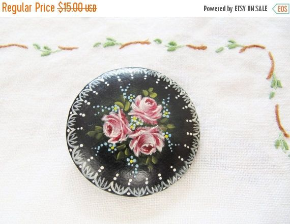 SALE 3.00 OFF Vintage Hand Painted Pink Rose Brooch Pin