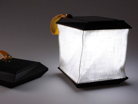 """a collapsible, portable lamp that charges during the day using solar power to provide energy to light up at night. Designed by Swedish designer Jesper Jonsson, the lamp is turned on when you unfold and expand the shade through a twisting motion."""