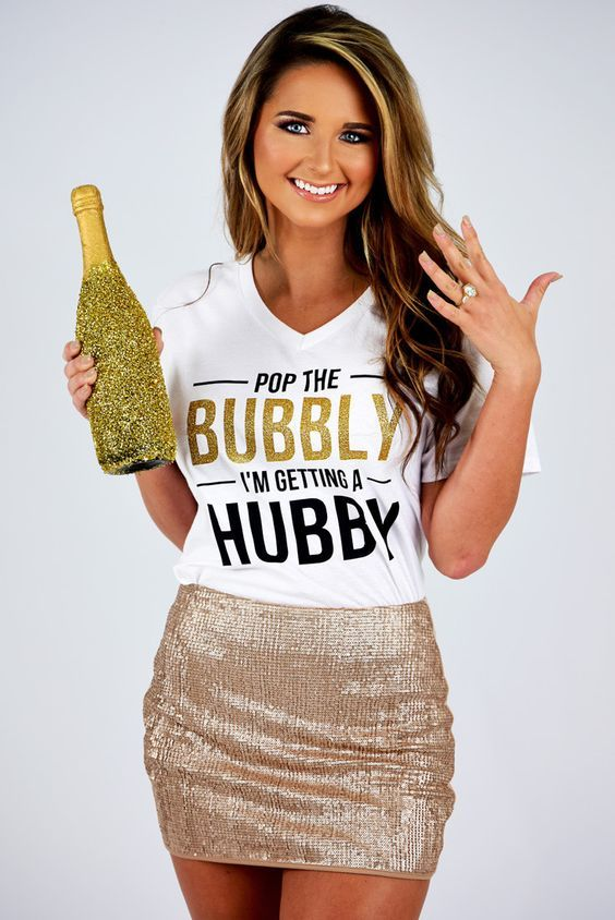 28 Gorgeous Bachelorette Outfits With A Wow Factor: #13. Cheerful printed t-shirt and a metallic sequin mini