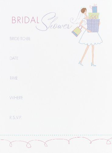 Hortense B. Hewitt Wedding Accessories Bridal Shower Invitations, Pack of 25 by Hortense B. Hewitt. $9.28. Fill-in-the-blank, bridal shower invitations feature a colorful illustration of a bride carrying a stack of gifts. Pack of 25 cards, each 4-5/8 by 6-1/4-inch. Look for matching Thank You Notes. Your wedding deserves the best - and the best comes from Hortense B. Hewitt, the leader in quality wedding accessories for more than 60 years.