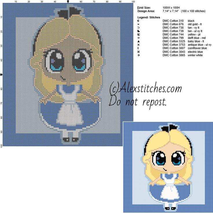 Chibi Alice in Wonderland disney free cross stitch pattern 100x100 11 colors